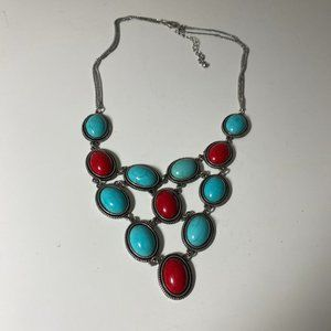 Red & Turquoise Statement Necklace in Silver